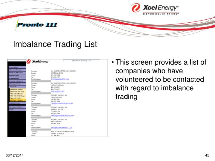 This screen provides a list of companies who have volunteered to be contacted with regard to imbalance trading