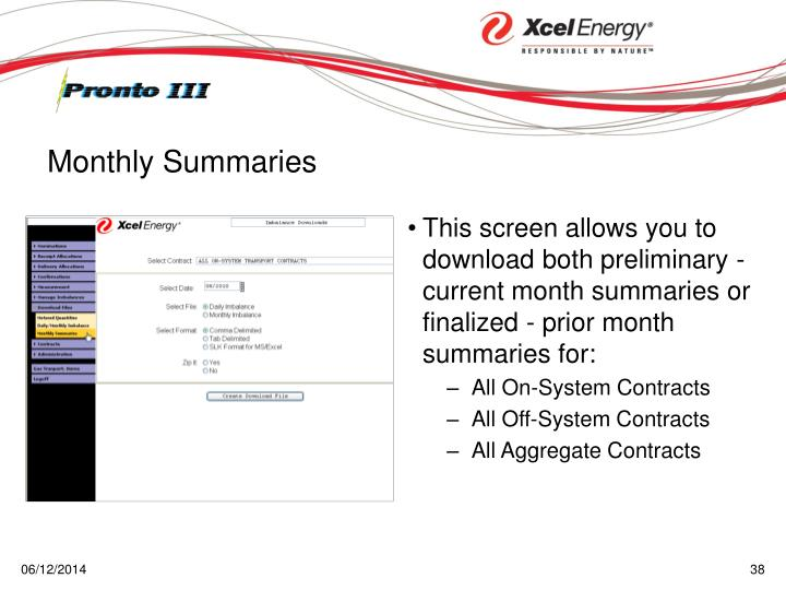 This screen allows you to download both preliminary - current month summaries or finalized - prior month summaries for: