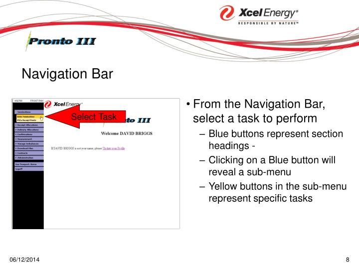 From the Navigation Bar, select a task to perform