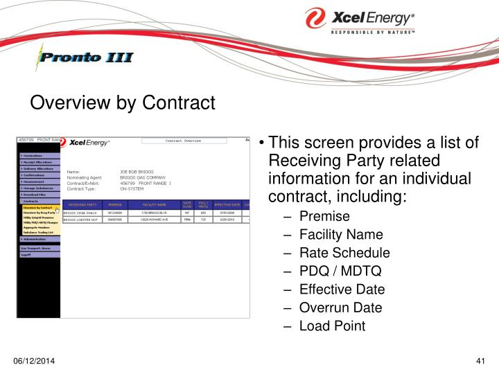 This screen provides a list of Receiving Party related information for an individual contract, including: