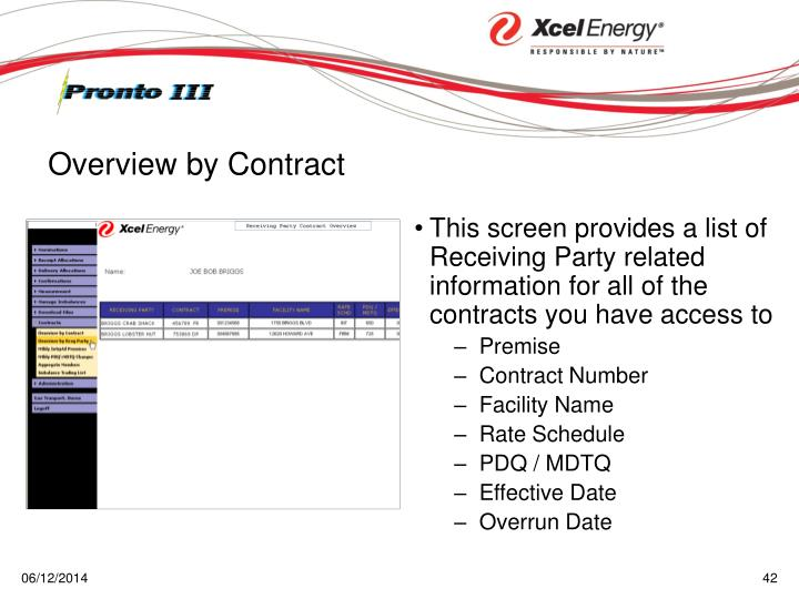 This screen provides a list of Receiving Party related information for all of the contracts you have access to