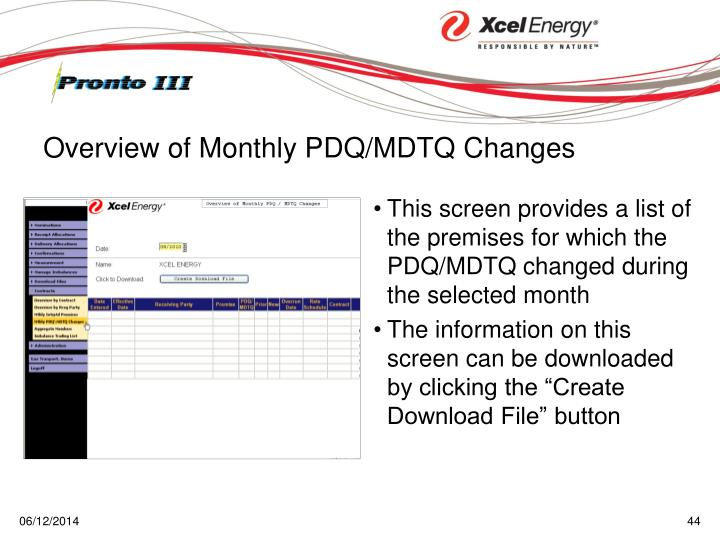 This screen provides a list of the premises for which the PDQ/MDTQ changed during the selected month