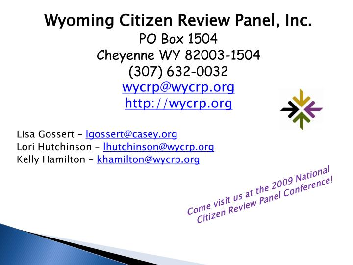 Wyoming Citizen Review Panel, Inc.