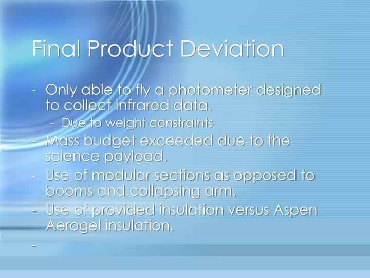 Final Product Deviation