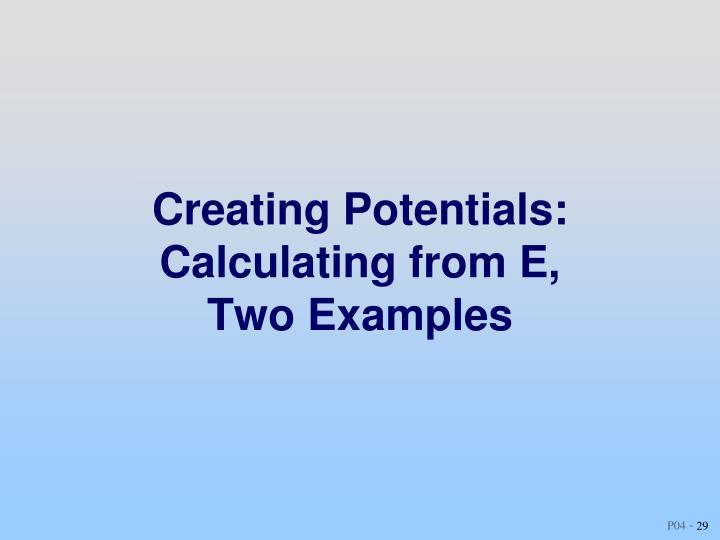 Creating Potentials: