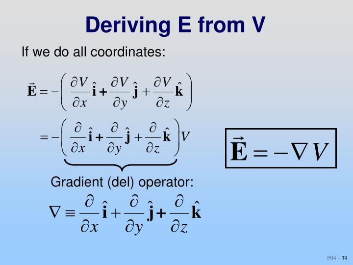 Deriving E from V