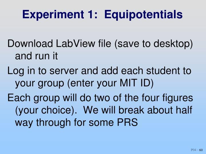 Experiment 1:  Equipotentials