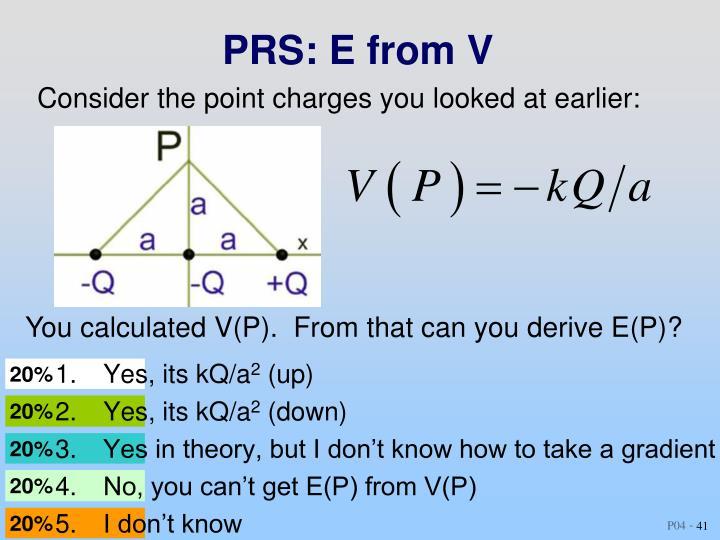 PRS: E from V