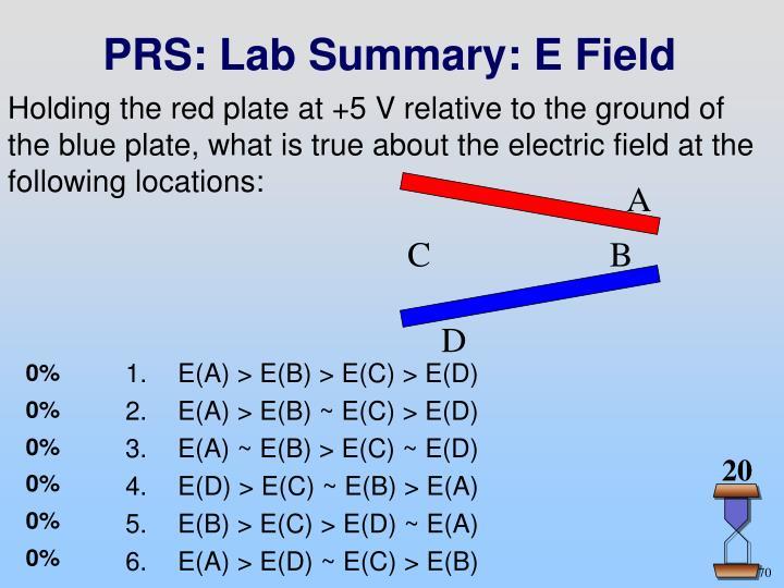 PRS: Lab Summary: E Field