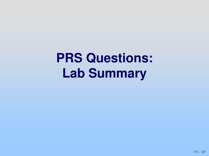 PRS Questions: