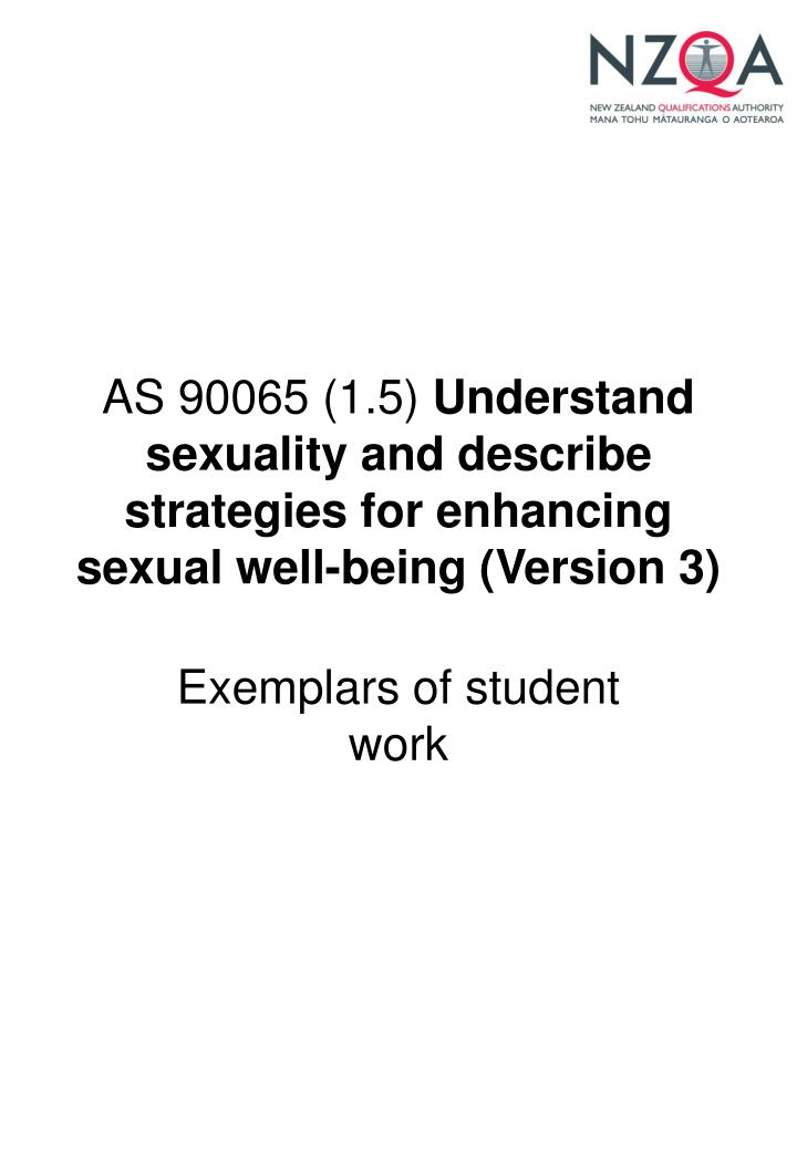 As 90065 1 5 understand sexuality and describe strategies for enhancing sexual well being version 3