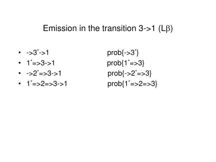 Emission in the transition 3->1 (L