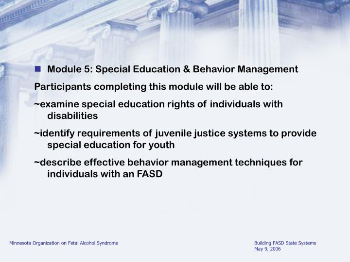 Module 5: Special Education & Behavior Management