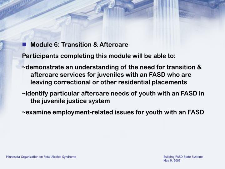 Module 6: Transition & Aftercare