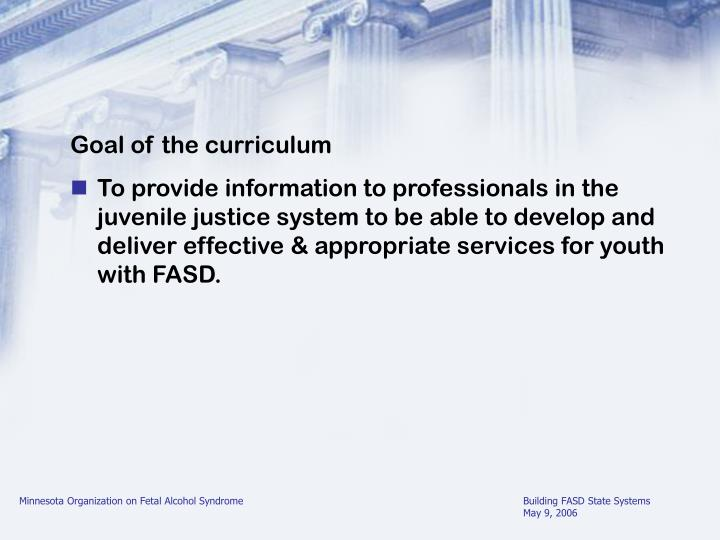 Goal of the curriculum