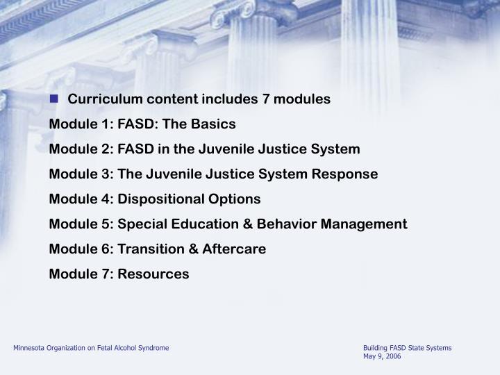 Curriculum content includes 7 modules
