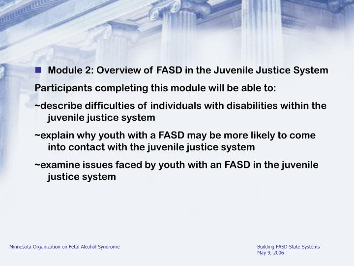 Module 2: Overview of FASD in the Juvenile Justice System