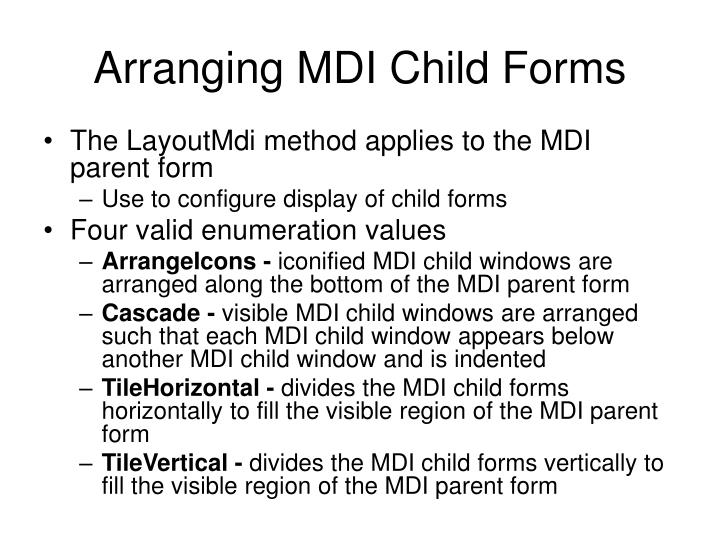 Arranging MDI Child Forms