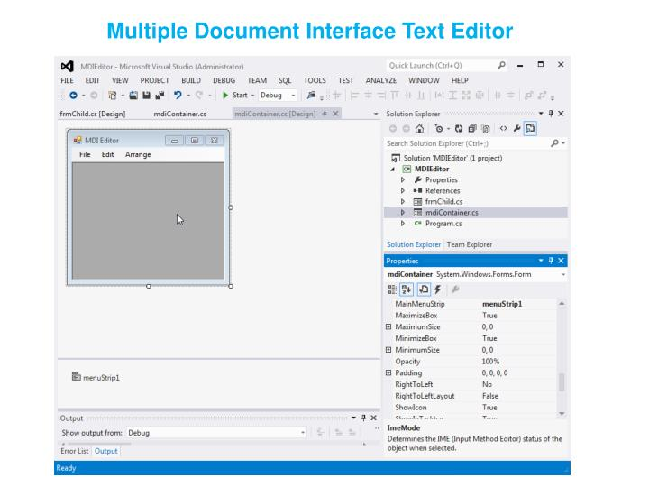 Multiple Document Interface Text Editor