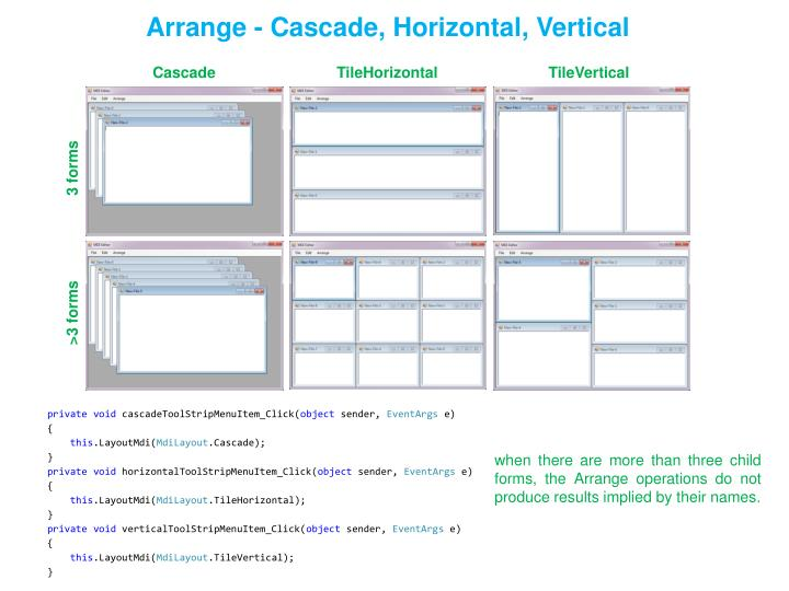 Arrange - Cascade, Horizontal, Vertical