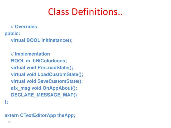 Class Definitions..