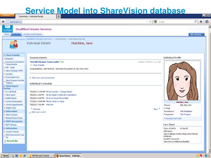 Service Model into ShareVision database
