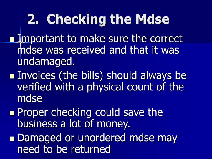 2.  Checking the Mdse