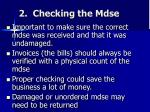 2 checking the mdse
