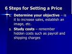 6 steps for setting a price