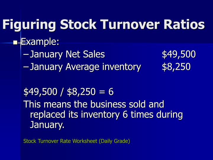 Figuring Stock Turnover Ratios