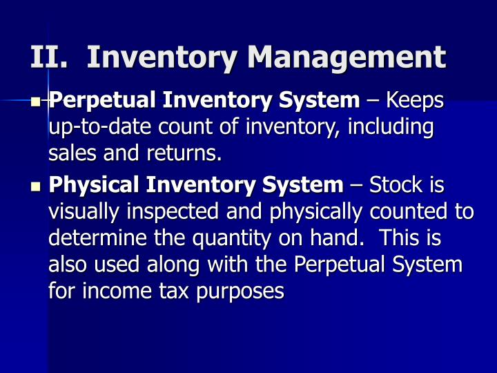 II.  Inventory Management