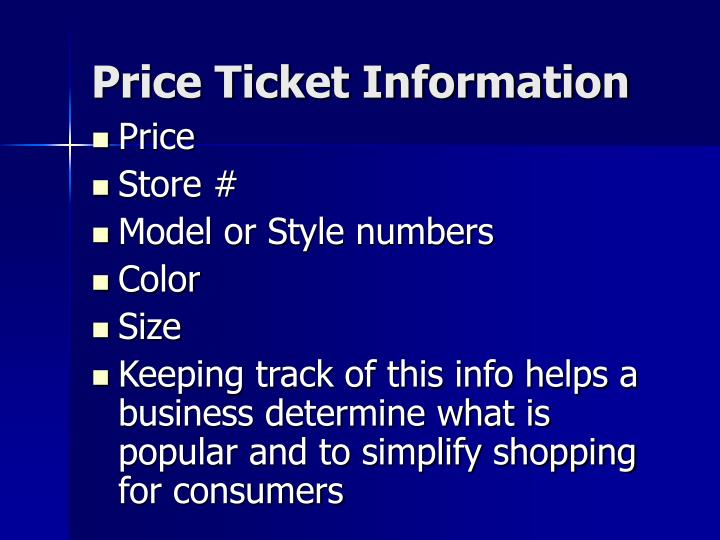 Price Ticket Information