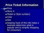 price ticket information