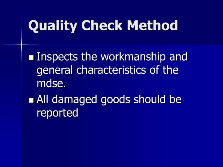 Quality Check Method