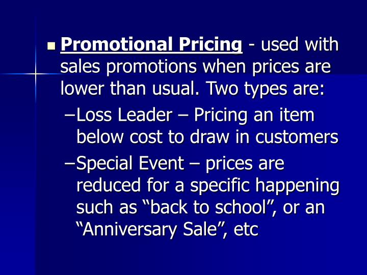 Promotional Pricing