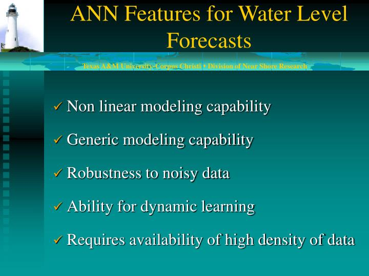 ANN Features for Water Level Forecasts