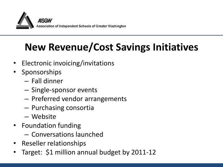 New Revenue/Cost Savings Initiatives