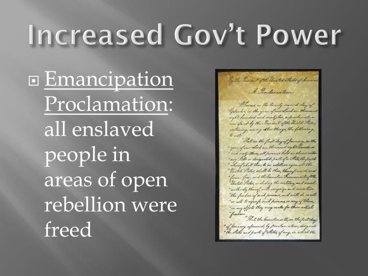 Increased Gov't Power