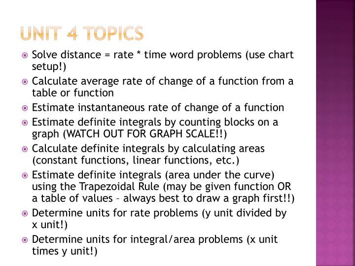 Unit 4 Topics