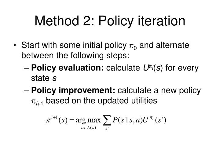 Method 2: Policy iteration