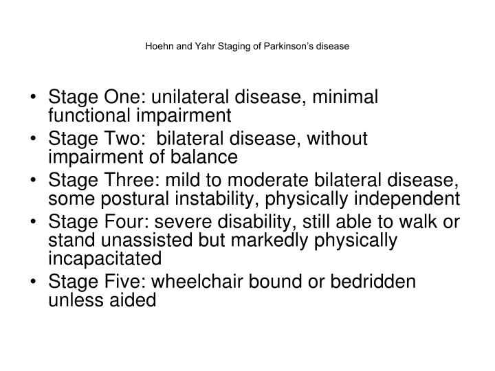 Hoehn and Yahr Staging of Parkinson's disease