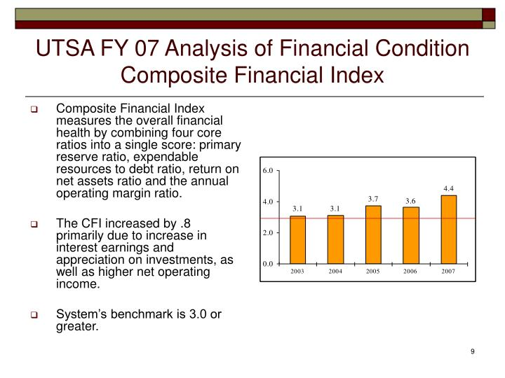 UTSA FY 07 Analysis of Financial Condition
