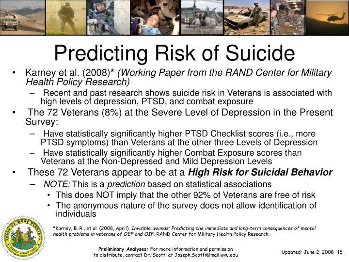 Predicting Risk of Suicide