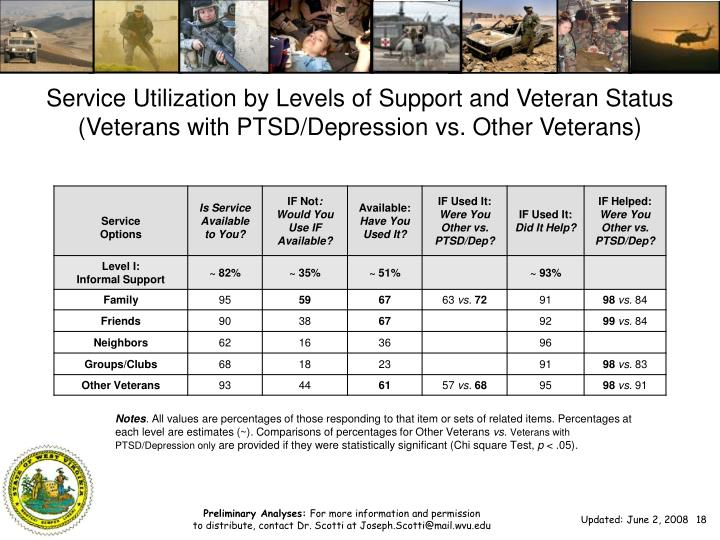 Service Utilization by Levels of Support and Veteran Status