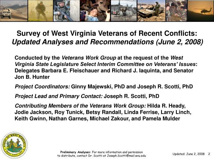 Survey of West Virginia Veterans of Recent Conflicts: