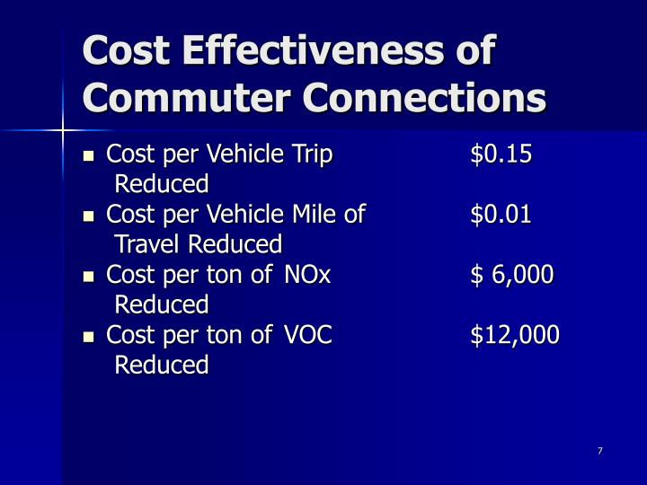 Cost Effectiveness of Commuter Connections