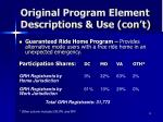 original program element descriptions use con t