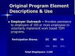 original program element descriptions use