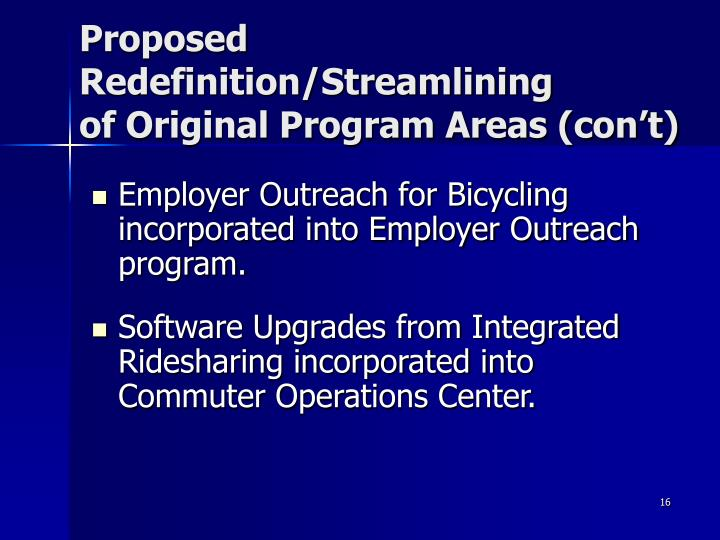 Proposed Redefinition/Streamlining