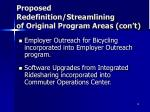 proposed redefinition streamlining of original program areas con t